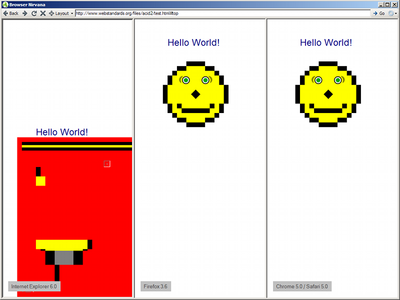 Acid2 Browser Test on Windows XP, Side-by-side Mode